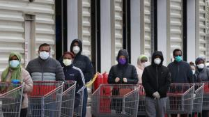 masked shoppers