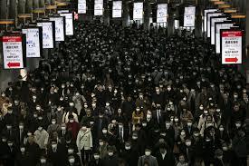 crowds in masks